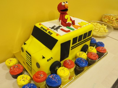 Elmo School Bus Birthday Cake