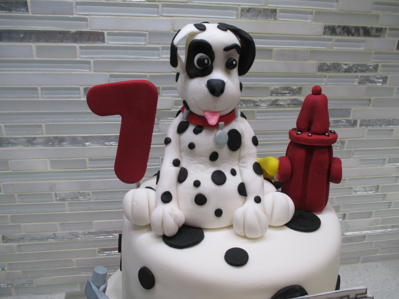 Fire Truck Dog Birthday Cake